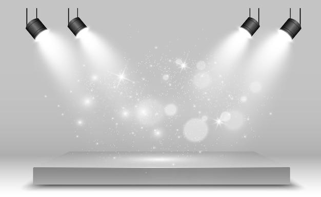 Caja de luz realista con fondo de plataforma para rendimiento de diseño, espectáculo, exposición. ilustración de lightbox studio interior. podio con focos.