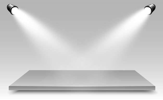 Caja de luz realista con fondo de plataforma para rendimiento, espectáculo, exposición. ilustración de lightbox studio interior. podio con focos.