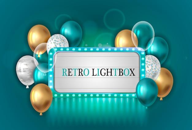 Caja de luz vintage con globos.