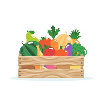 Caja de madera con frutas y verduras