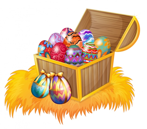 Una caja de madera con huevos de pascua