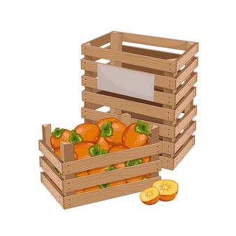 Caja de madera llena de caqui