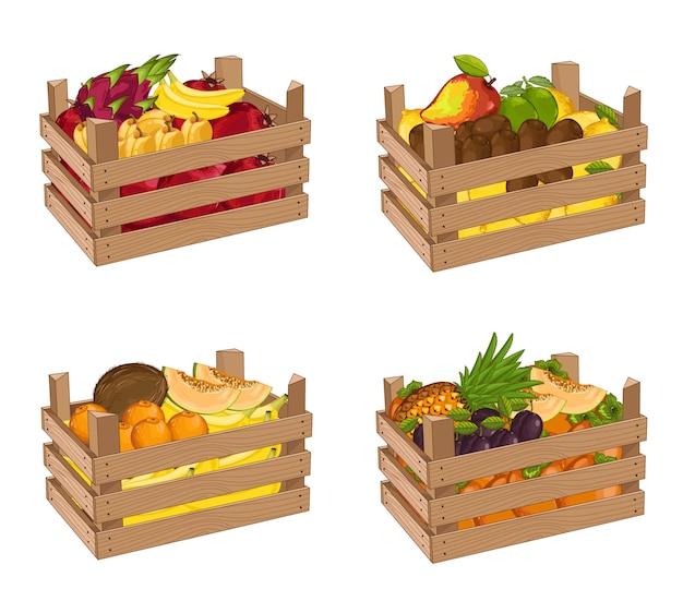 Caja de madera llena de fruta set vector aislado