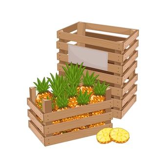 Caja de madera llena de piña