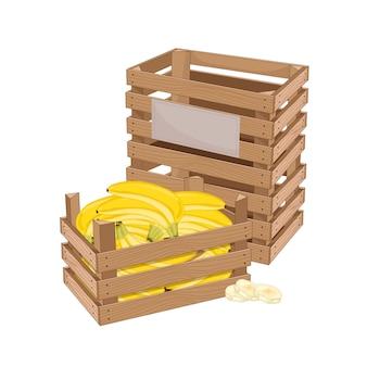 Caja de madera llena de plátano