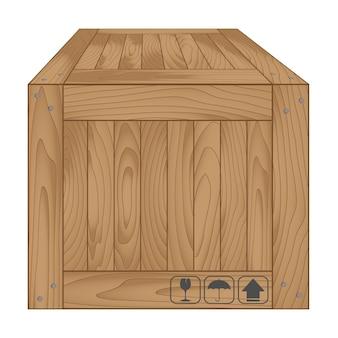 Caja de madera marrón sobre blanco