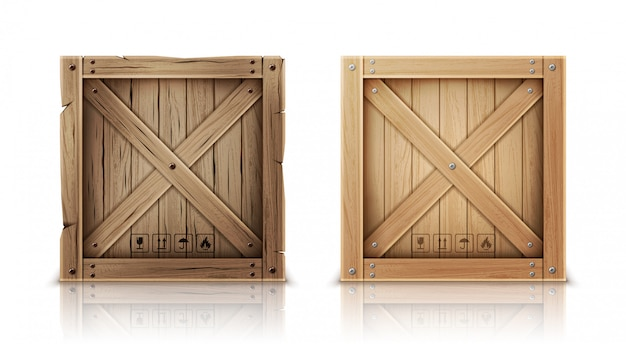Caja de madera nueva y envejecida realista