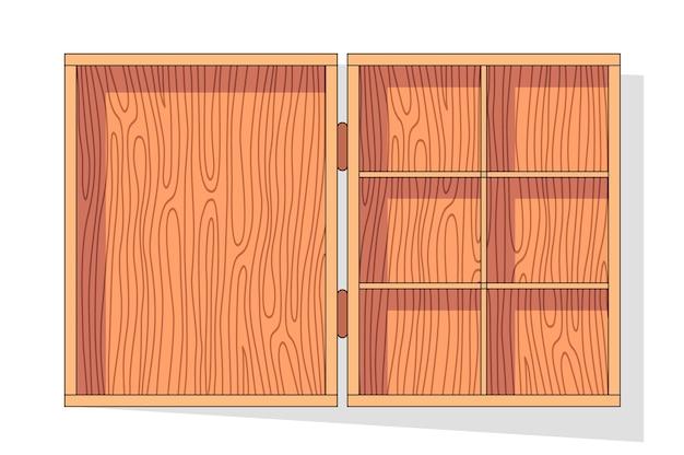 Caja de madera. palés contenedor de transporte de frutas y verduras, cajones y cajas de madera vacías, paquete de distribución de carga