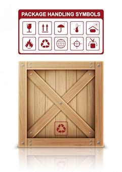 Caja de madera y símbolos de paquete