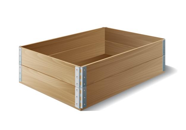 Caja de madera vacía en blanco.