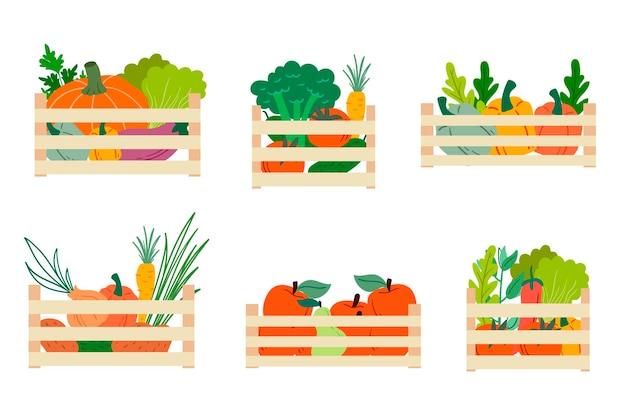 Caja de madera con verduras frescas. ilustración vectorial. frutas y verduras de otoño. ilustración de vector de la cosecha