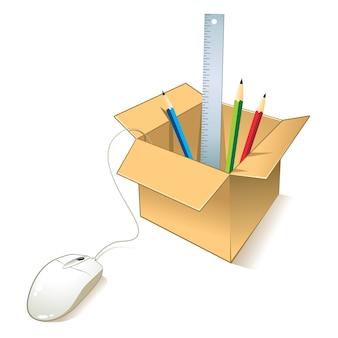 Caja con materiales escolares