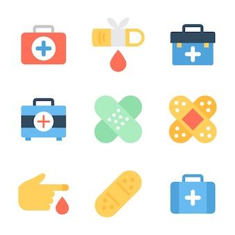 Caja médica, vendaje y paquete de heridas