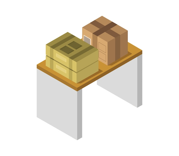 Caja en mesa isométrica