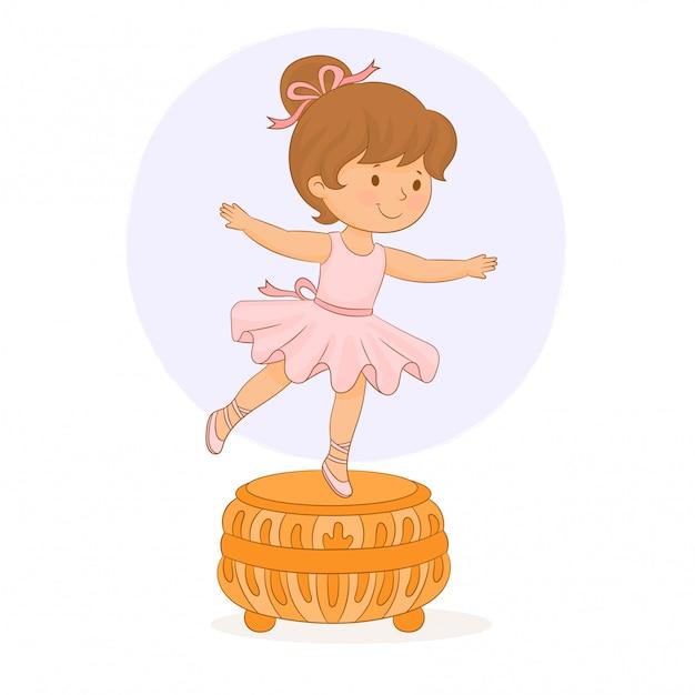 Caja de música. bailarina pequeña niña