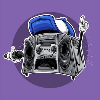 Caja de música monstruos cantando hip-hop callejero