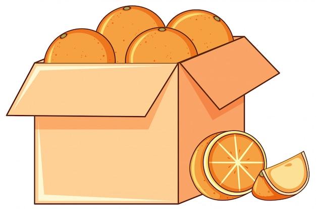 Caja de naranjas sobre fondo blanco.
