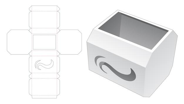 Caja octogonal con plantilla troquelada de icono de onda estarcida