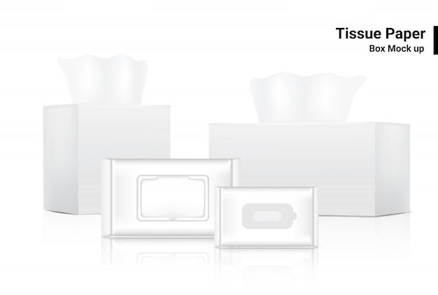 Caja de pañuelos y bolsa de bolsita toallita húmeda, producto realista