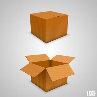Caja de papel abierta y cerrada. ilustración vectorial