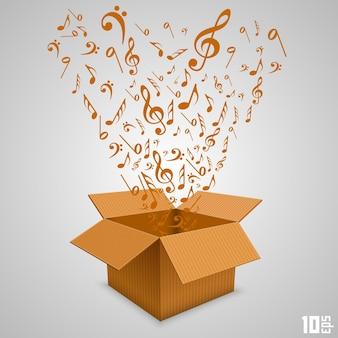 Caja de papel abierta con notas. ilustración vectorial