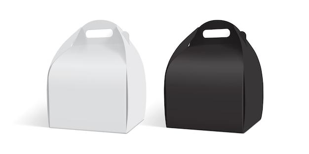 Caja de papel blanco y negro aislado sobre fondo blanco.