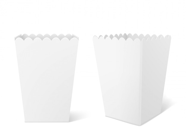 Caja de papel blanco para palomitas de maíz en el cine.