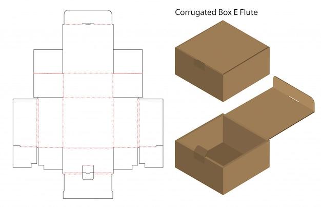 Caja de papel corrugado troquelado con maqueta 3d arriba