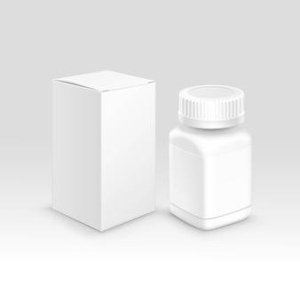 Caja de papel de empaque médico en blanco y botella para pastillas