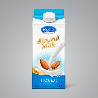 Caja de papel para leche de almendras con splash líquido y frutos secos. marca de bebidas lácteas en un recipiente de cartón con tapa, plantilla de paquete realista para comida natural vegana.