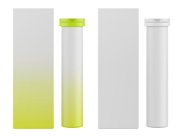 Caja de papel rectangular en blanco y envases para vitaminas