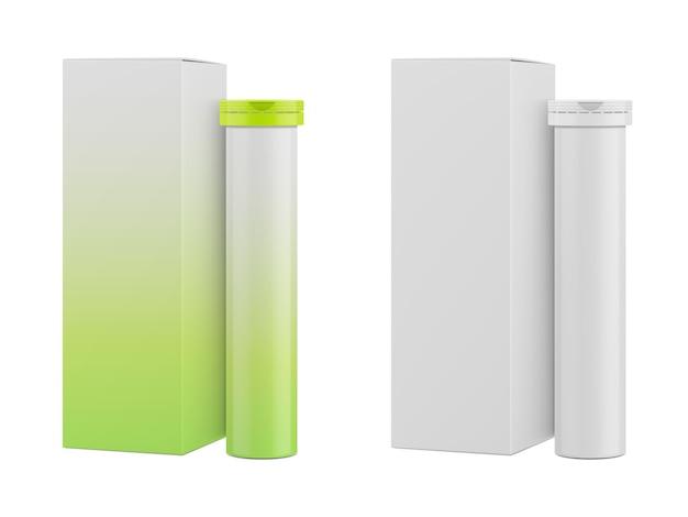 Caja de papel rectangular y envases para vitaminas