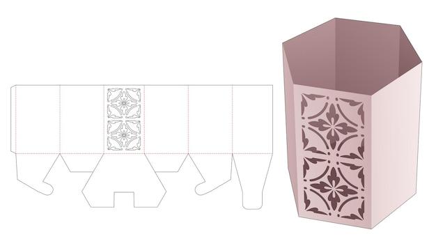 Caja de papelería hexagonal con plantilla troquelada de patrón de mandala estarcido