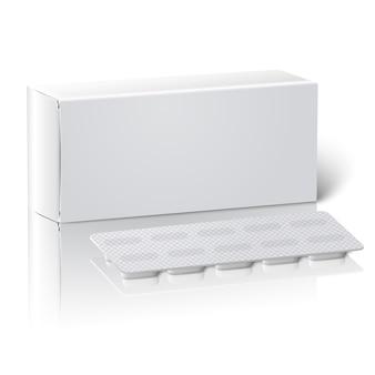 Caja de paquete de medicina de papel en blanco blanco realista con pastillas en un blister.