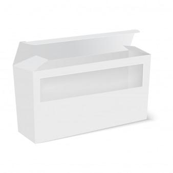Caja de paquete de producto blanco con ventana