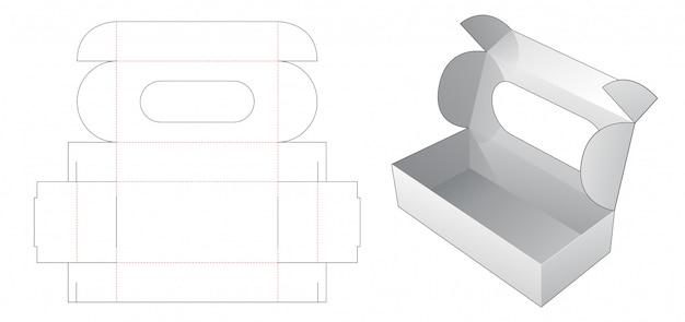 Caja de pastel con ventana superior plantilla troquelada