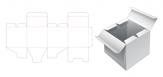 Caja con plantilla troquelada de punto abierto medio