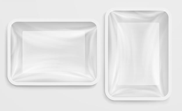 Caja de plástico blanca vacía envase de comida