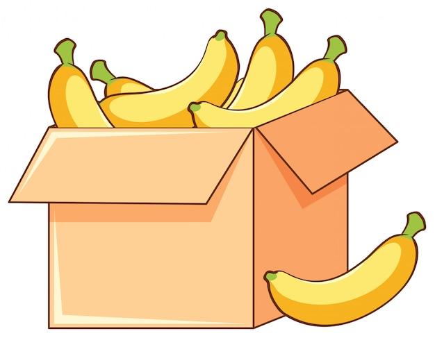 Caja de plátanos en blanco