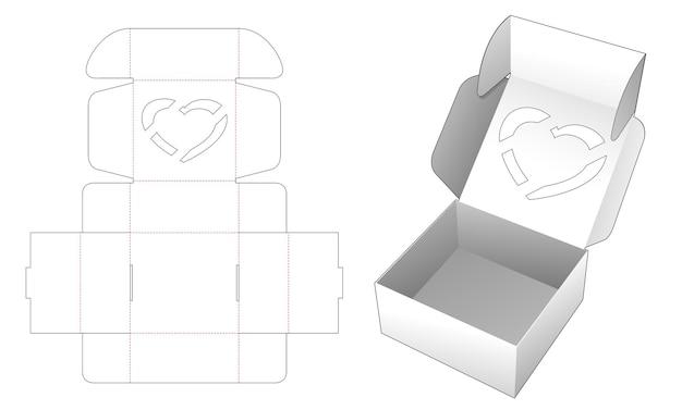 Caja plegable de san valentín con plantilla troquelada con tapa de ventana en forma de corazón