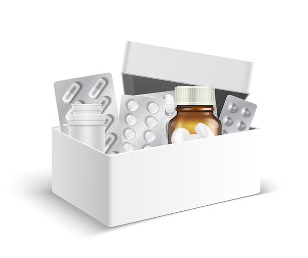 Caja de primeros auxilios a domicilio. frascos médicos y ampollas de pastillas. envases realistas con medicamentos, antibióticos o vitaminas.