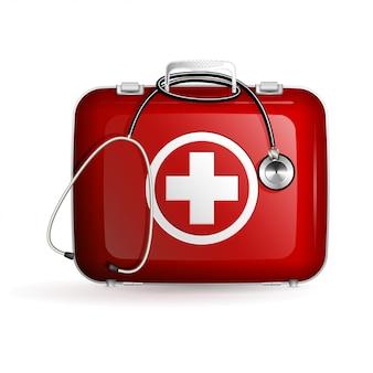 Caja de primeros auxilios con estetoscopio