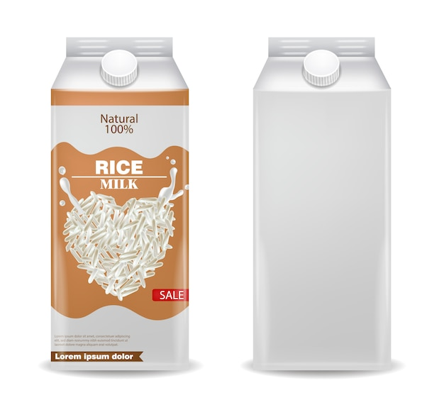 Caja de productos realista de leche de arroz.