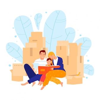 La caja que se sienta de la familia joven, el concepto que mueve la nueva casa, el padre la madre y la hija miran el álbum de foto aislado en blanco, ilustración de la historieta