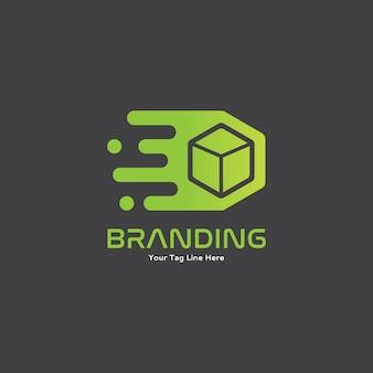 Caja rápida móvil verde con concepto de logotipo de movimiento
