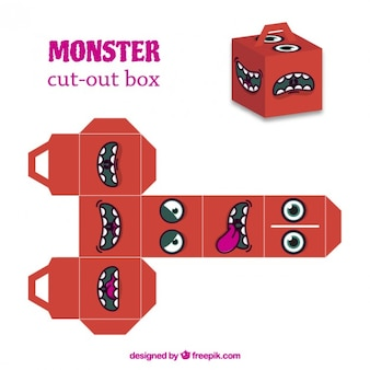 Caja recortable de monstruo rojo