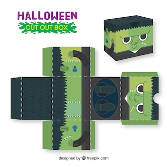 Caja recortable de zombi de halloween