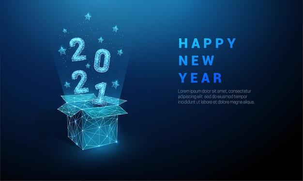 Caja de regalo abierta abstracta y números voladores 2021