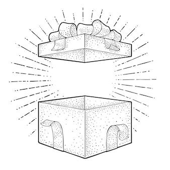Caja de regalo abierta con cinta, lazo y rayo. grabado