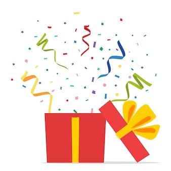 Caja de regalo abierta y confeti. paquete sorpresa. caja actual abierta con fuegos artificiales. navidad, celebración de cumpleaños, fiesta, elemento de diseño de tarjetas de felicitación. ilustración de vector de estilo plano